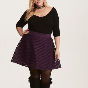 Torrid Striped Mesh Flare Skirt